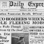 Headline from Daily Express, Daily Herald, London, April 28, 1937.